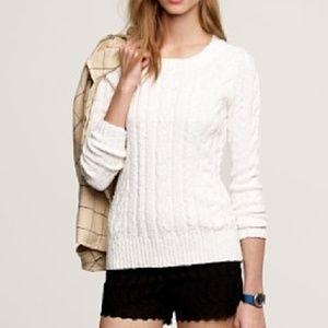 J Crew white cable pullover sweater 100% cotton Sm